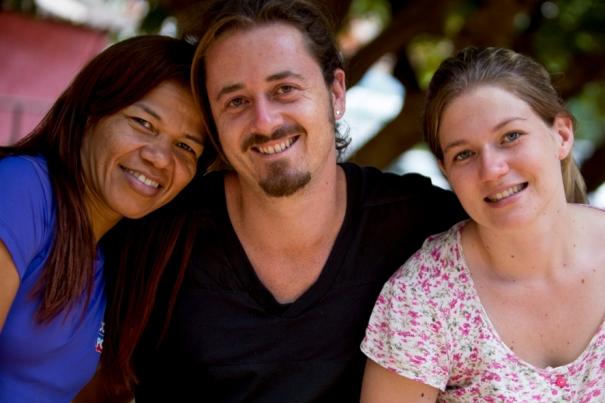 Os educadores Wilma, Pablo e Cris