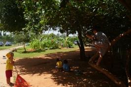 Crianças livres e brincando no jardim